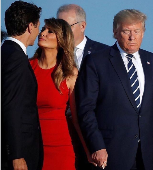 Caption this photo of President Trump, his wife, and Canadas Prime Minister Justin Trudeau