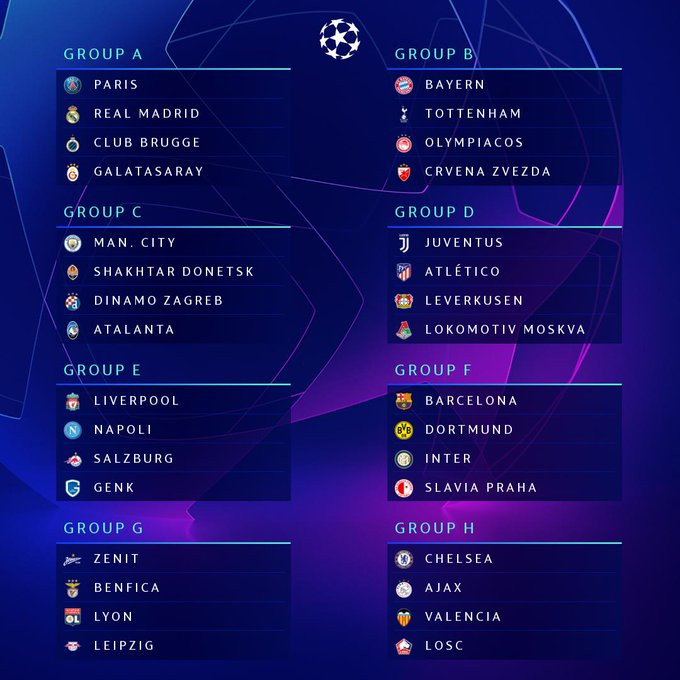 Champions League Group Stage draw revealed:Bayern Munich vs Spur,Chelsea vsValencia, PSG vs Real Madrid