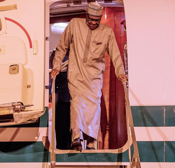 President Buhari arrives Abuja after participating in TICAD7 lindaikejisblog