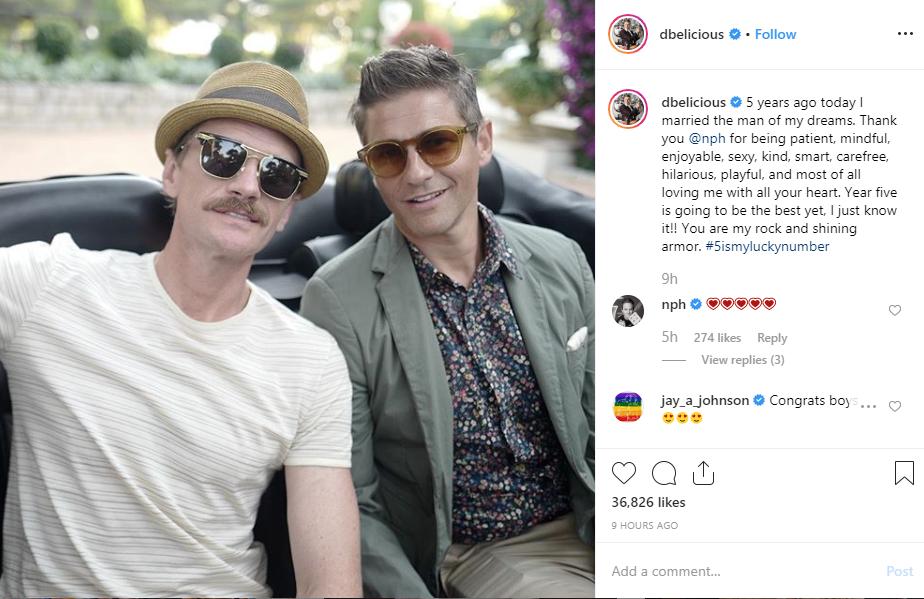 Actor Neil Patrick Harris celebrates 5th wedding anniversary with his husband, David Burtka lindaikejisblog 2
