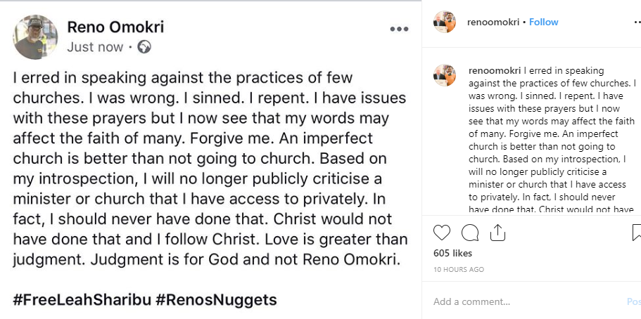 Reno Omokri apologizes for speaking against some church practices, says he will no longer criticize a Pastor or Church he has access to privately lindaikejisblog 1