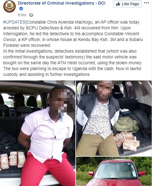 Two Police officers arrested with Millions from Kenyan Sh.72-Million (N254m) ATM heist lindaikejisblog 1