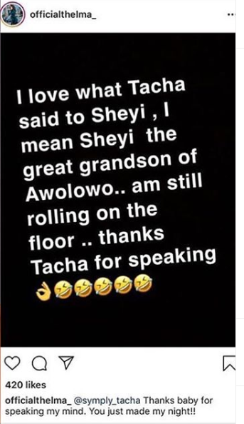 Thelma hails Tacha for slamming Seyi, says his comment of her late brother taking her success to the grave affected her mother lindaikejisblog 1