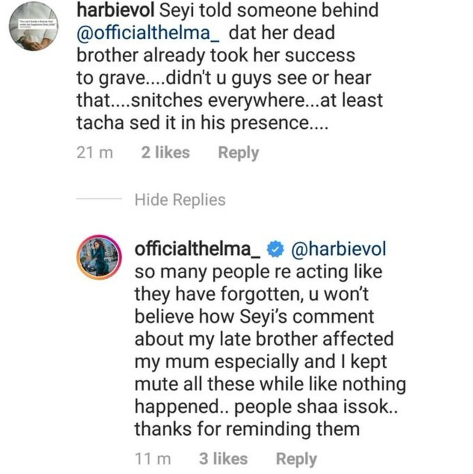 Thelma hails Tacha for slamming Seyi, says his comment of her late brother taking her success to the grave affected her mother lindaikejisblog