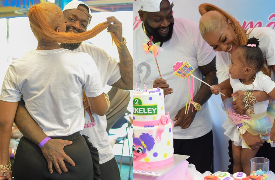 Rapper Rick Ross grabs his girlfriend Briana Camille's backside as they celebrate their daughter's 2nd birthday  (Photos)
