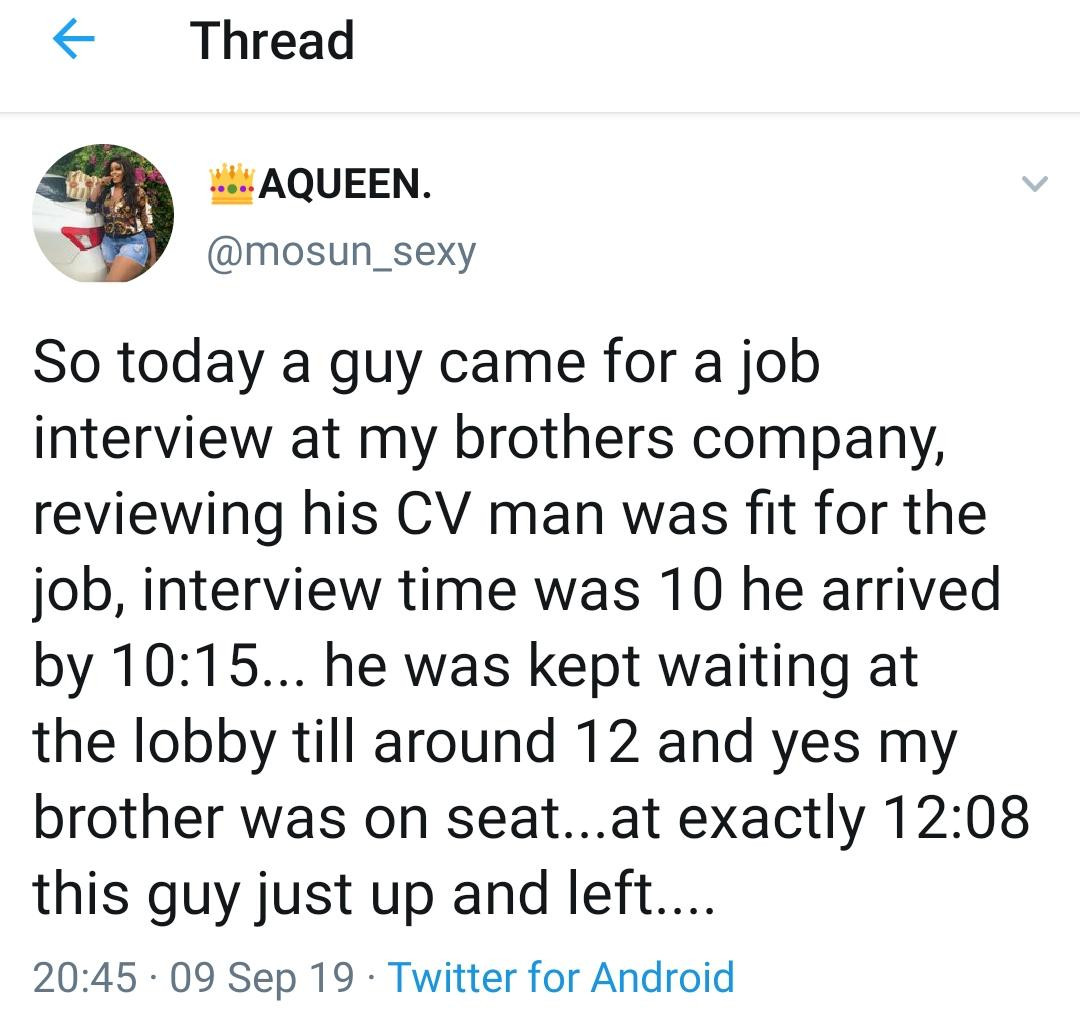 Read these Tweets about how a guy looking for job was treated by his 'employer' and tell us which side you're on