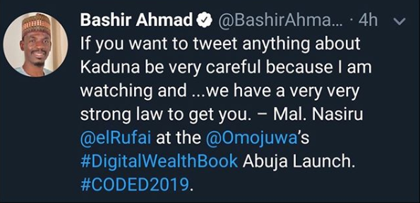 Be careful when you write anything about Kaduna on social media because we will get you - Governor Nasir El-Rufai lindaikejisblog 1