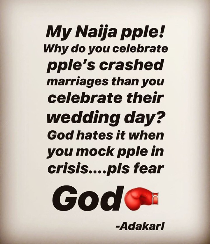 Actress Ada Slim questions why Nigerians celebrate a broken marriage more than they celebrate weddings