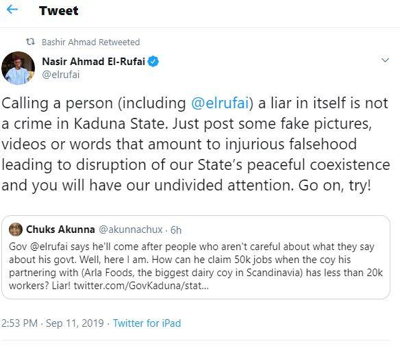Twitter user calls Governor El-Rufai a 'liar' and he responds
