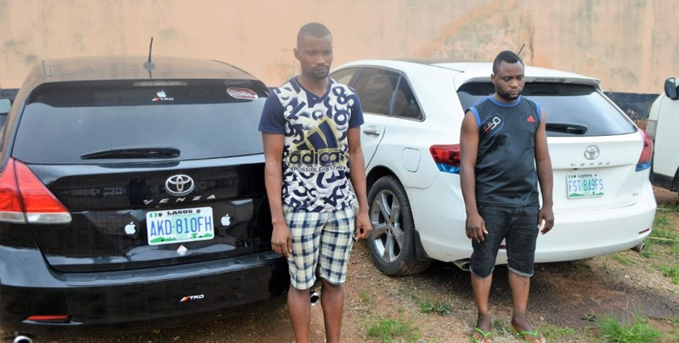 Two yahoo boys arrested in Ibadan, expensive cars and phones recovered lindaikejisblog