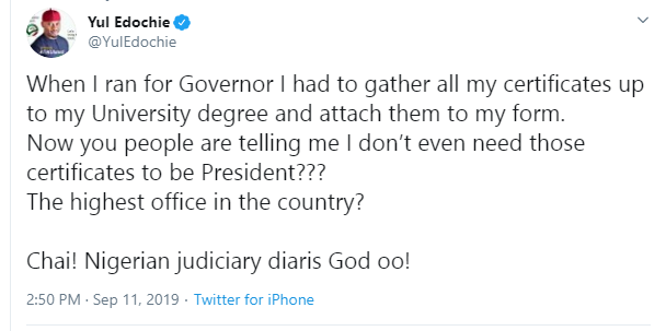 Are they telling me I don't need my certificates to be President - Yul Edochie mocks Nigerian Judiciary and President Buhari lindaikejisblog 1
