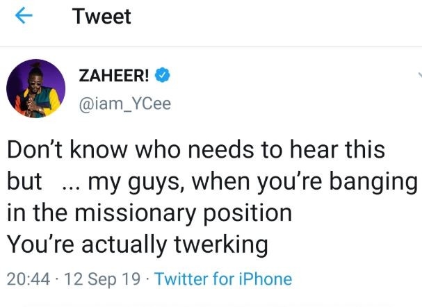 Ycee says, 'guys, when youre banging in the missionary position, youre actually twerking'