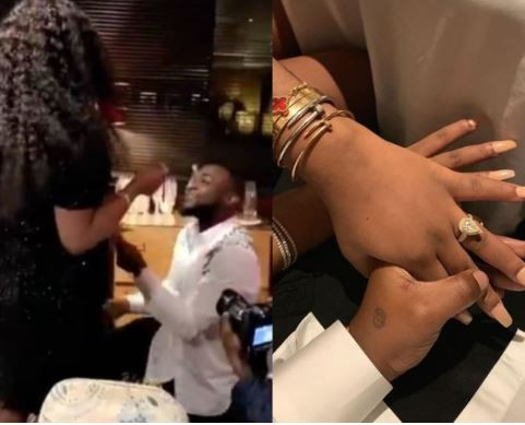 Image result for images of Davido shows off Chioma's huge engagement ring