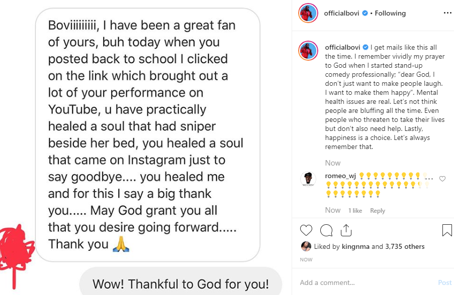 Bovi reacts after DM from depressed fan who said his jokes stopped her from committing suicide lindaikejisblog  1