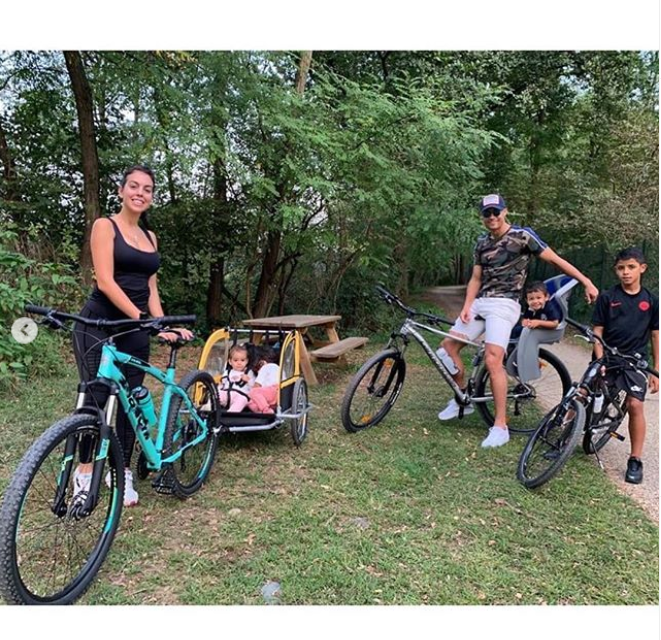 Cristiano Ronaldo steps out with his adorable family as they enjoy bike ride together(Photos)