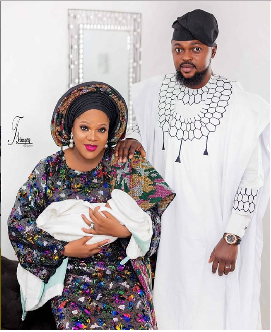 Toyin Abraham shares beautiful family photo with her husband and their adorable son