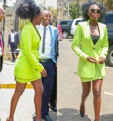 Kenyan singer, Akothee whose skirt was deemed too short during a visit to parliament was ordered to cover her legs in a wrap before speaking with the lawmakers..    Akothee was there to speak to politicians and urge them to do more to help the estimated one million drought victims in the north-western Turkana region.     Akothee was dressed in a revealing green micro mini-skirt suit.      See what she wore after changing the minis skirt....