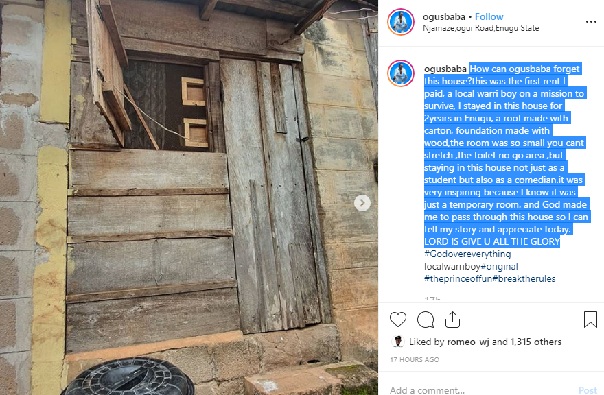 Comedian Ogusbaba becomes a house owner in Lekki, shares a photo of his first rented apartment in Enugu lindaikejisblog 1