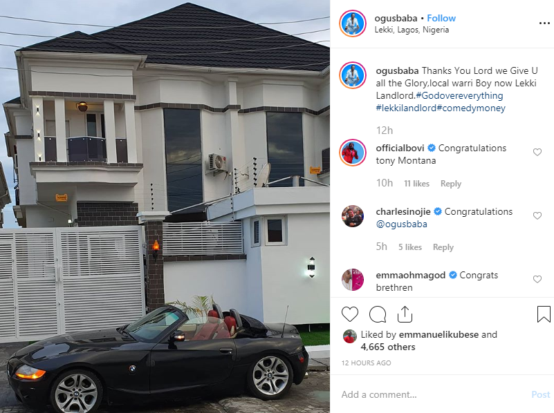 Comedian Ogusbaba becomes a house owner in Lekki, shares a photo of his first rented apartment in Enugu lindaikejisblog 2