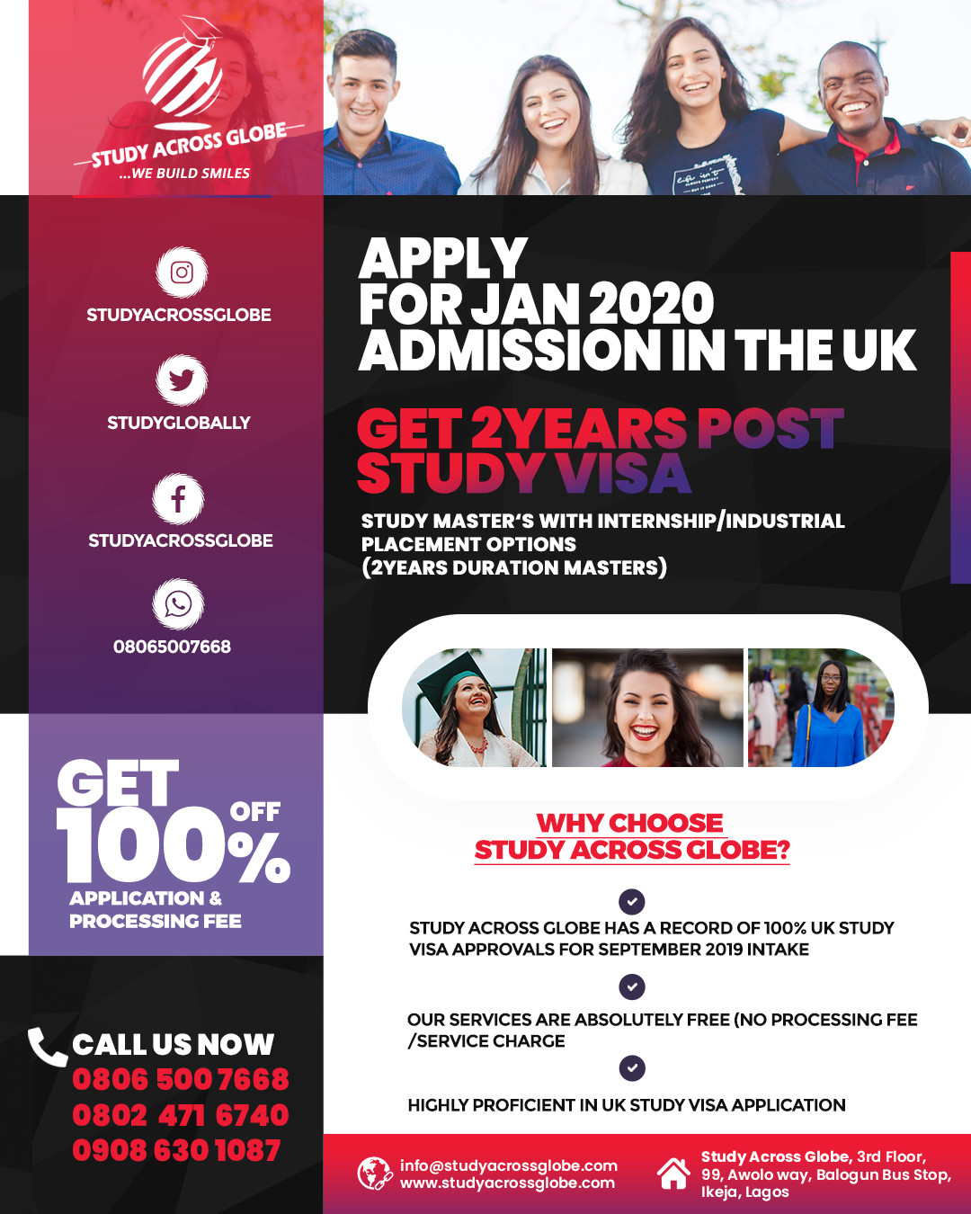 Apply For Jan/Feb 2020 Admissions In The Uk (+2Years Post Study Visa)