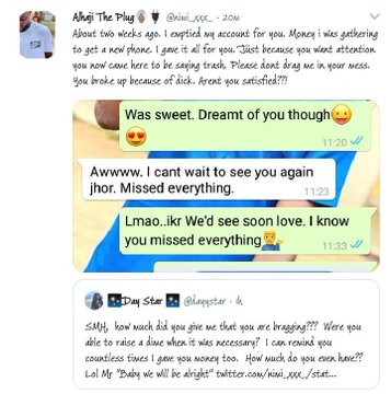 Twitter user called out by his ex-girlfriend after he said 'Ladies are scum' lindaikejisblog 4