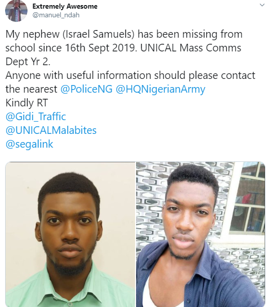 UNICAL Mass Communication student missing from school for almost one week