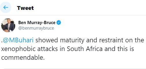 President Buharishowed maturity and restraint on the xenophobic attacks in South Africa and this is commendable - Ben Bruce