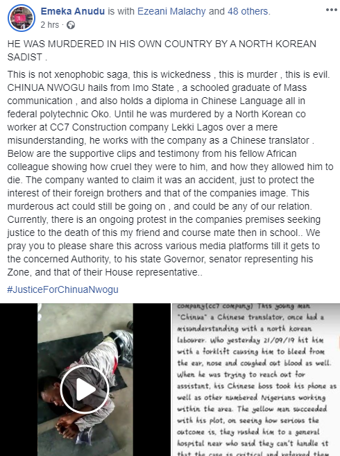 Nigerian man allegedly murdered by a North Korean co-worker at a construction company in Lagos lindaikejisblog 1