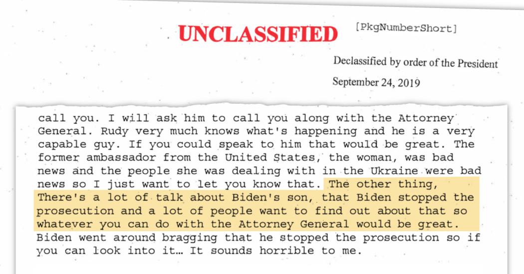 Transcript shows President Donald Trump asked Ukraine to investigate Joe Biden lindaikejisblog