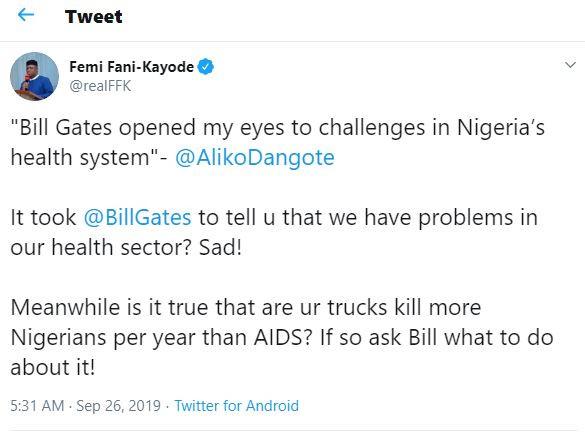 Is it true that are your trucks kill more Nigerians per year than AIDS? - FFK asks Aliko Dangote