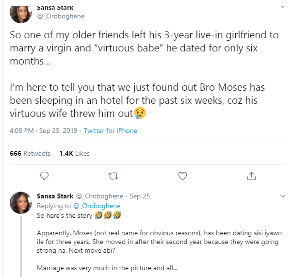 Lady narrates what happened after her older friend left his girlfriend of 3 years to marry a virgin and 'virtuous woman' he dated for 6 months lindaikejisblog 1