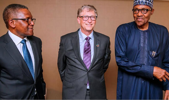 President Buhari Meets Bill Gates, Dangote In New York (Photos)