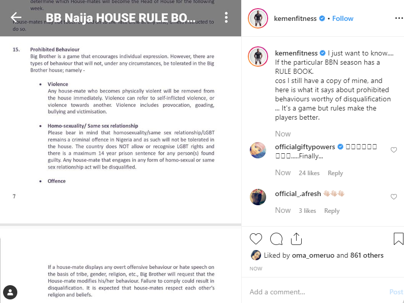 Kemen shares a photo of BBNaija rule book after Mercy and Tacha's clash.......see who gets qualified lindaikejisblog 1