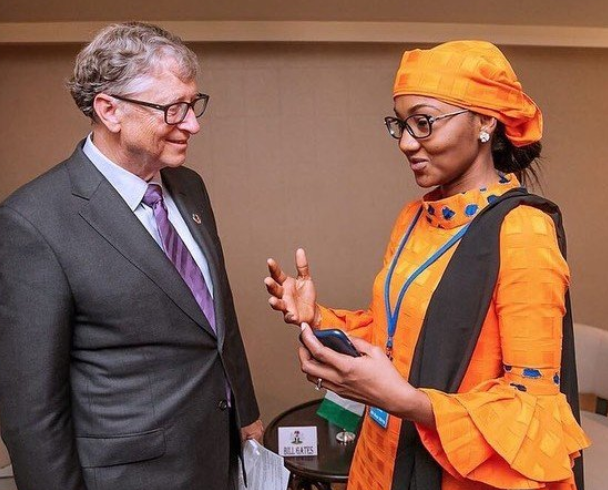 President Buhari's daughter, Zahra meets Bill Gates at the United Nations General Assemblyin New York (Photos)