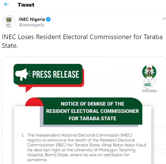 Taraba State resident electoral commissioner is dead