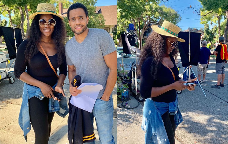 Nollywood actress,Stephanie Okereke-Linus pictured with US actor Michael Ealy (Photos)