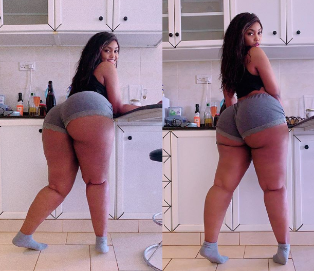 'Legs that match the assets' - Heavily endowed Tanzanian model, Sanchi showcases her backside (Photos)