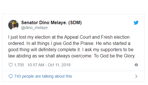 Breaking: Appeal court sacks Senator Dino Melaye, orders fresh election