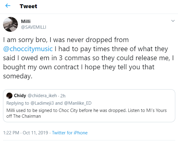 Rapper Milli reacts to getting dropped by MI Abaga, says 'I paid millions of Nairaso they could release me'
