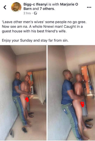 Man disgraced after being caught while trying to sleep with best friend's wife in Anambra  1
