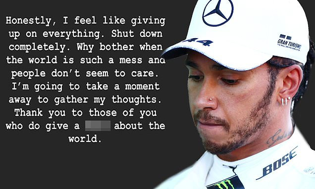 Lewis Hamilton sparks concern as he tells fans he feels like 'giving up on everything' and wants to 'shut down completely'