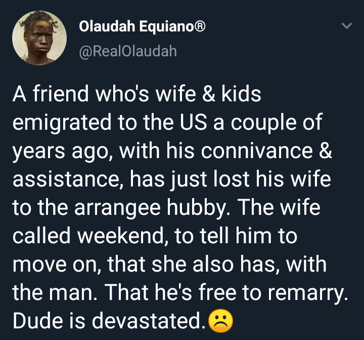 Man's wife abandons him in Nigeria after moving to America