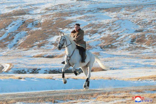 Like Vladimir Putin, North Korean leader Kim Jong Un rides on horseback for bizarre snaps in Mount Paektu (Photos)