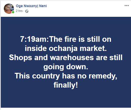 Some parts of Ochanja market is still on fire this morning lindaikejisblog 1