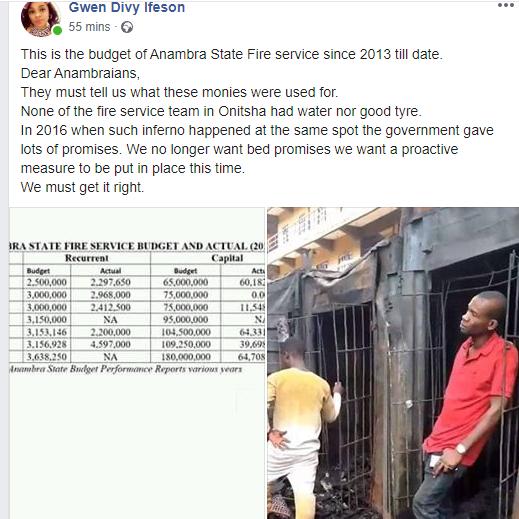 Some parts of Ochanja market is still on fire this morning lindaikejisblog 2