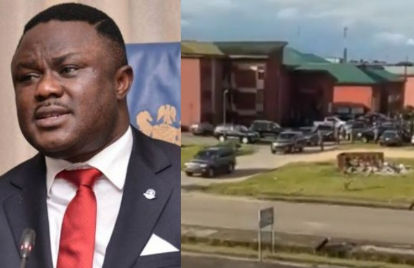 Governor Ben Ayade who is now a student of UNICAL, seen leaving school in a 20-jeep convoy lindaikejisblog