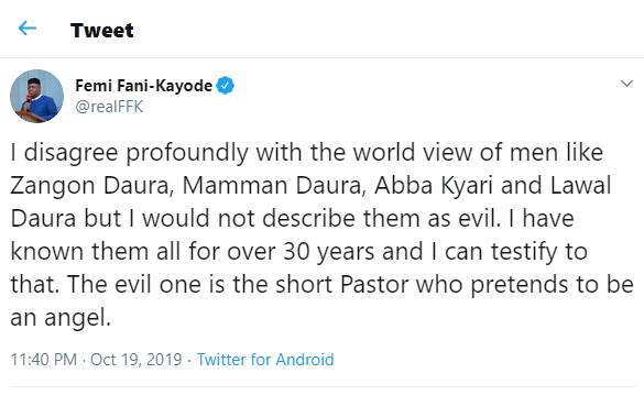 The evil one is the short Pastor who pretends to be an angel - FFK shades VP, Yemi Osibajo