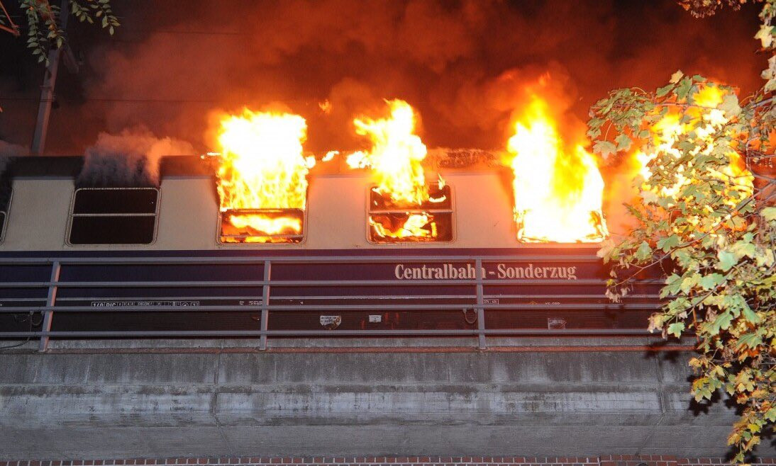 Train carrying hundreds of football fans catches fire in German, leaving several injured (Photos)