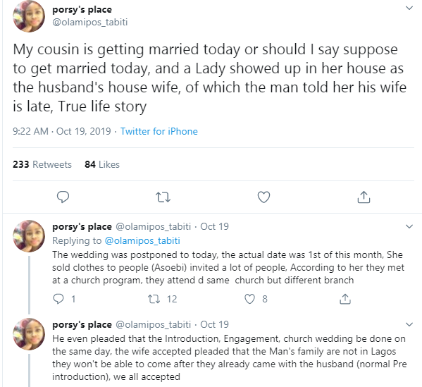 Twitter user narrates how the wife of her sister's husband-to-be showed up at their wedding amid claim of being dead lindaikejisblog 1