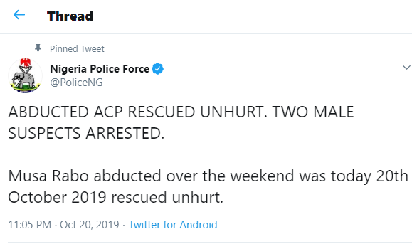 Update: Abducted police ACP rescued unhurt, two suspects arrested
